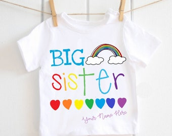 Big sister tshirt - big sister, little sister, big sister top, baby announcement, new baby, baby shower gift, rainbow sister, matching tops