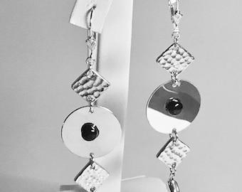 Modern Art Black Onyx Earring