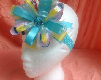 Blue,yellow princess bow