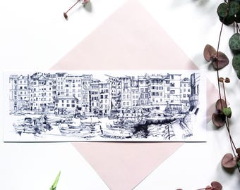 Bookmark Camogli, card houses graphics, black and white drawing, architecture illustration, drawing ink Italian port boats graphics