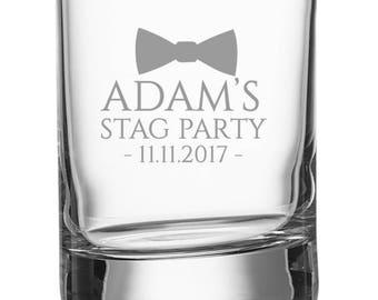 Engraved STAG PARTY shot glass, personalised shot glasses with bachelor's name and stag night date, bow tie - SH-STAG2