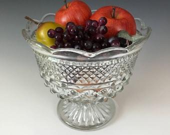 Wexford Clear Glass Bowl - Centerpiece- Vintage Fruit Bowl - Footed Bowl - Clear Glass Serving Bowl - Anchor Hocking Glass