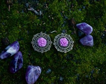 Vintage pink rose Plugs--unique--14-30 mm