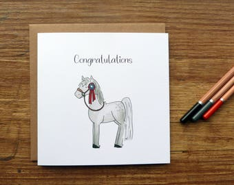 Libby Congratulations Greetings Card - Cute Handmade Watercolour Horse Pony Celebration Rosette