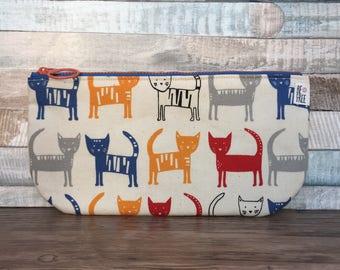 Cats Pencil Case –Colorful Kitties Kawaii Japanese Fabric Handmade Zipper Pouch Wallet Boys Girls Kids Back to School Supplies Zippered
