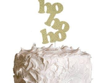 HoHoHo Christmas Cake Topper - Christmas Glittery Gold Cake Topper