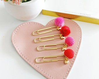 Lovey Dovey Fabric Bobble Paperclip Charms