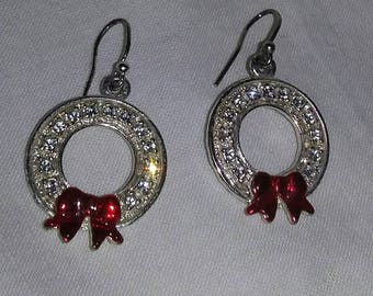 Vintage Christmas in July wreath crystal pierced earrings