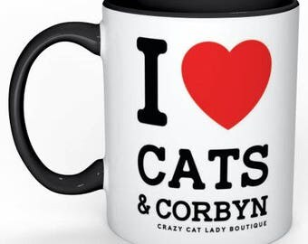 Cat Mug, I love CATS and CORBYN blk handle mug, Cat Lover Gift, Crazy Cat Lady, Funny,CCL Boutique, Brighton, Labour Party, Jeremy Corbyn