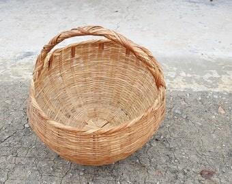 Vintage Handmade Apple Basket Split Wood Appalachian? Residual Paint Fine Splint Weaver