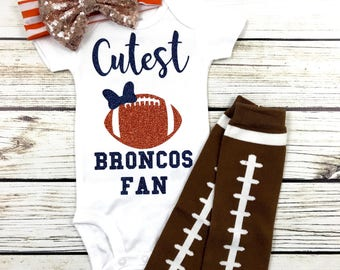 Cutest Broncos Fan Football Bodysuit Outfit For Baby Girl