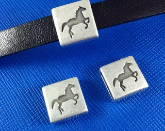 European flat leather cord bead, leather findings, zamak findings, sliders for 10mm flat leather, Horse, Equestrian, Antique silver plated