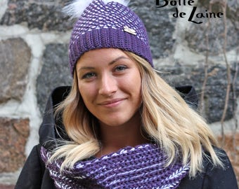Women hat and scarf, women infinity scarf, women hat, purple and white, Tunisian Crochet and knitting