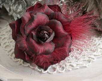 Red Hair Flower Clip, Hair Accessory, Hair Flower Clip, Red Rose Hair Flower, Red Rose Clip, Gothic Rose, Pin Up Clip Realistic Red Rose RD2