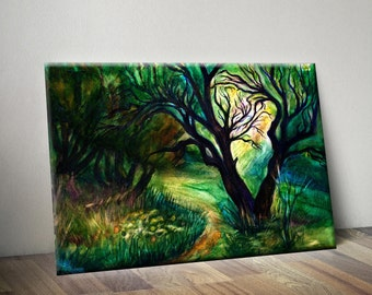 Tree canvas painting Green watercolor trees Forest tree painting Green landscape art print Brown tree wall decor Canvas forest print