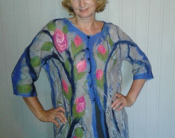 Felted unique top with sleeves floral print of wool and cotton with wool handmade lace blue color, eco style for women