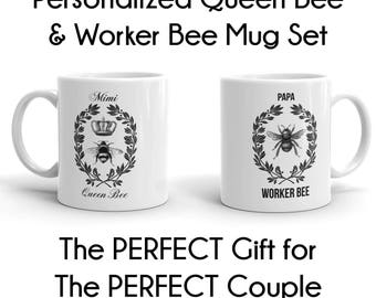 Worker Bee, Queen Bee, His And Hers Mugs, His And Hers, His Hers Mugs, Bee Worker, Bee Queen, Queen Bee Coffee, Coffee Queen, Coffee Bee