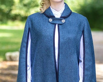 The Vintage Cape in Lorne-Blue Tweed