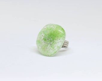 fused glass ring , adjustable ring , green ring , fused glass jewelry , glass jewelry , gift for her , birthday gift , gift for girlfriend