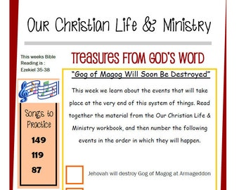 Kids OCLAM August 21-27  Prestudy Sheet Our Christian Life & Ministry JW Jehovah's Witnesses Homeschool Family Worship