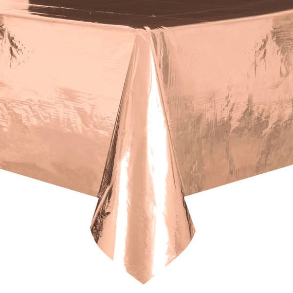 Metallic Rose Gold Tablecover Shiny Rose Disposable Table