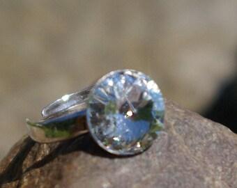 Sterling Silver Swarovski Ring Adjustable Rivoli Ring Swarovski Clear Crystal Ring Dainty Ring Statement Ring Wedding Crystal Ring  12mm
