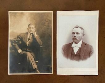 Vintage Photos Set of 2 Vintage Black and White Portraits Sepia Photographs Browntone Photographs Vintage Gentlemen Photographs