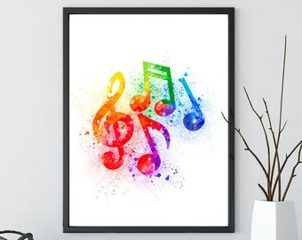 Music Notes Watercolor Splatter Art Print, Musical Printable Art, Instant Digital Download, home decor