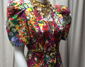 Stunning 1980's Vibrant ' Kalaidescope ' Floral Print Silk Jacket by ' Raul Blanco for Neiman Marcus '