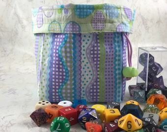 Flower Dice Bag - Large Dice Bag - Reversible Dice Bag - Made with Flowers/Stripes Fabric - Dice Pouch - Card Bag - DnD - RPG