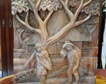 """Cottage"" wooden table, ancient Slavic craft / old wooden hand carved board, Slavic crafts"