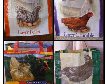Chicken Feed Bag Tote, Recycled Market Bag, Reusable Shopping Tote, Up-cycled Feed Bag, Hen Feed Market Bag