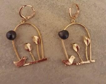 Bird and leaf earrings on brass hooks