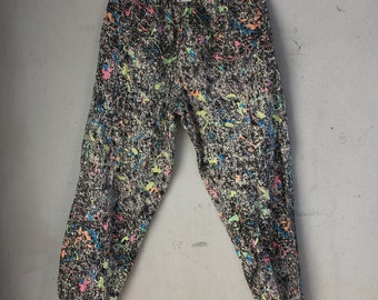 Vintage 80s 90s Neon Splatter Paint Pattern over Acid Wash, Large, All Around the World MC HAMMER PANTS