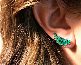 Emerald Green Earrings - Green Ear Jacket - Green Ear Climber - Silver Earrings - Gold Earrings - Statement Earrings - Evening Earrings