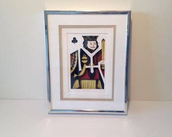 Vintage Cut Paper Framed Picture - King of Clubs