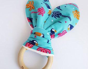 Parrot Bunny Ear Teether, Parrot Teether, Teething Ring, Wooden Teething Ring, Teething