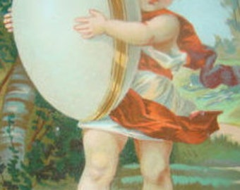Victorian Scrap (Child with an Egg) # 1