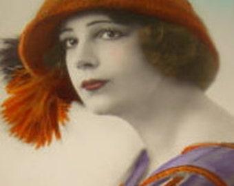 Pretty 1920's Hand Tinted RPPC (Pretty Lady)