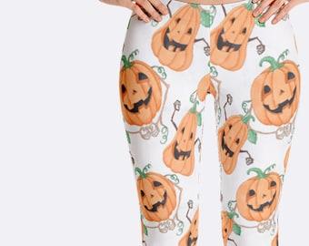 Pumpkins Leggings, Halloween Leggings, Jack O Lantern Leggings, Halloween Clothing, Print Leggings, Yoga Pants, Womens Leggings