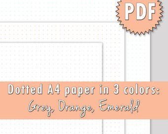 PRINTABLE A4 dot grid paper in grey, emerald and orange color