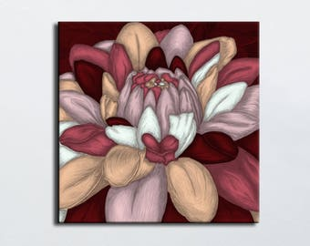 Burgundy beige flower blue - flower art painting - square canvas - painting on canvas - digital painting - portrait of flower - choose size