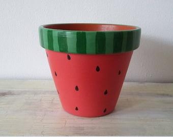 Watermelon Plant Pot Small Size H 10.0cm x W 10.5cm
