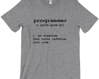 Programmer Definition: An Organism That Turns Caffeine Into Code Geek Computer Science Code T-Shirt