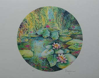 Alain RAGARU - the water lilies of Monet - signed original LITHOGRAPH #EA