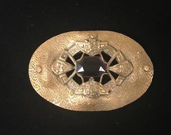 Vintage Brass Brooch w/Purple Glass Stone