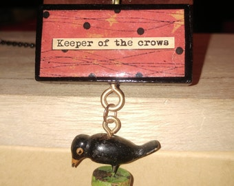 Halloween Keeper of the Crows Pendant Necklace Altered Art