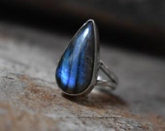 size-7us blue labradorite ring,92.5 silver ring,labradorite ring,labradorite cabochon ring