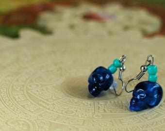 Tzolk'in-Inspired Crystal Skull Earrings