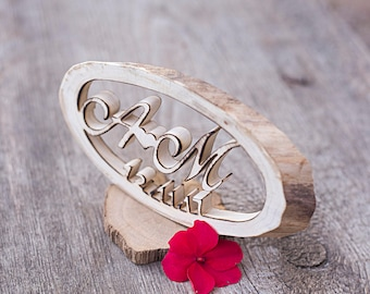 Wedding cake topper - Wood Cake Toppers - Rustic Cake Topper - Custom cake topper - Cake Topper Initials - Country wedding table centerpiece